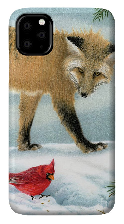 Christmas IPhone Case featuring the painting The Fox And The Cardinal by Sarah Batalka