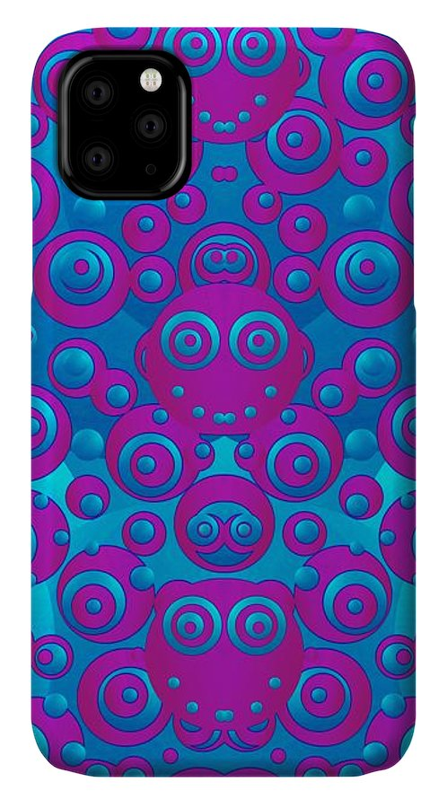 Eyes IPhone 11 Case featuring the mixed media The Happy Eyes Of Freedom In Polka Dot Cartoon Pop Art by Pepita Selles