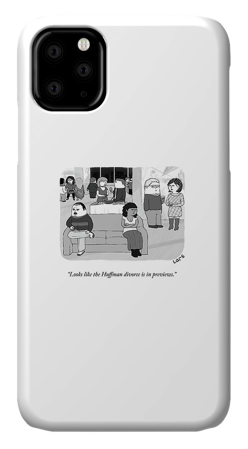 """""""looks Like The Huffman Divorce Is In Previews."""" Couch IPhone Case featuring the drawing The Huffman Divorce by Lars Kenseth"""