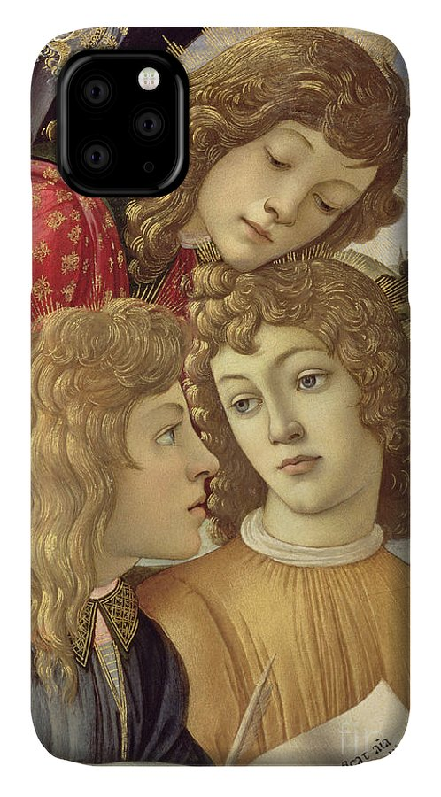 Sandro Botticelli IPhone 11 Case featuring the painting The Madonna Of The Magnificat, Detail Of Three Boys, 1482 by Sandro Botticelli
