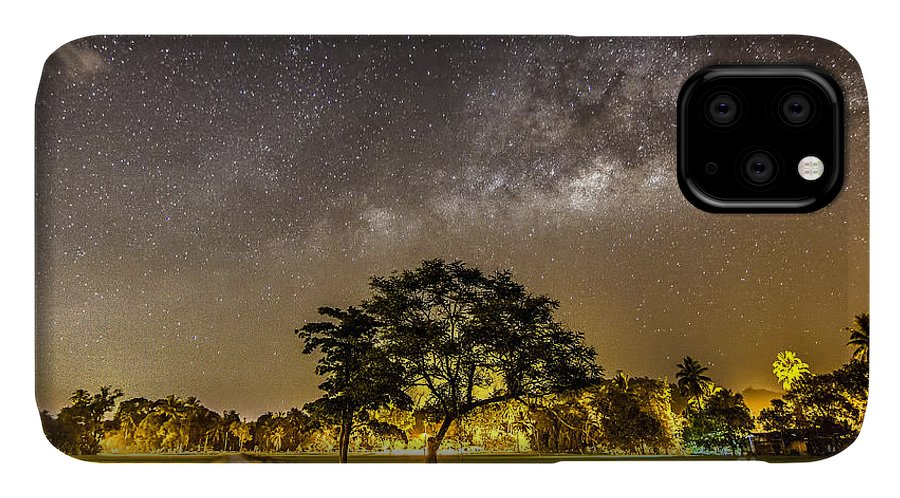 Milkyway IPhone Case featuring the photograph The Milky Way And The Tree Stand Alone by A.aizat