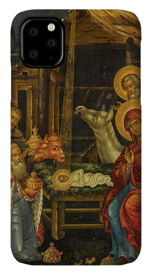 The Nativity IPhone Case featuring the painting The Nativity, Russia, 1848 by Russian Art
