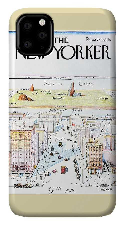 The New Yorker IPhone Case featuring the painting The New Yorker - March 29, 1976 by Saul Steinberg