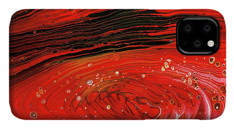 Acrylic IPhone 11 Case featuring the painting The Red Planet By Teresa Wilson by Teresa Wilson