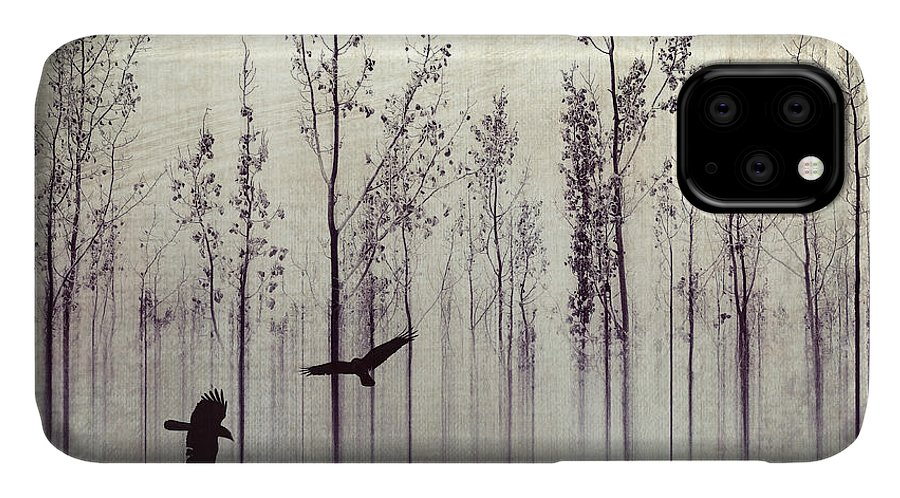 Raven IPhone 11 Case featuring the photograph There Are Always Two by Priska Wettstein