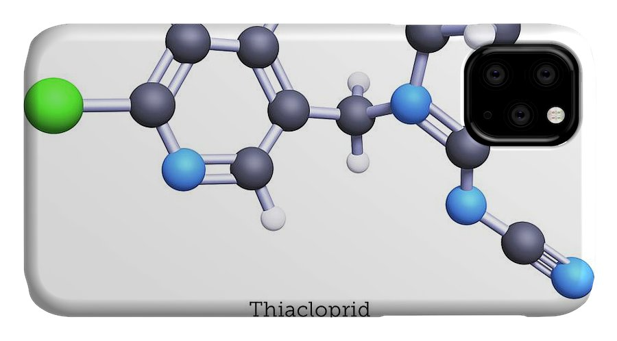 Thiacloprid IPhone Case featuring the photograph Thiacloprid Neonicitinoid Insecticide Molecule by Greg Williams/science Photo Library