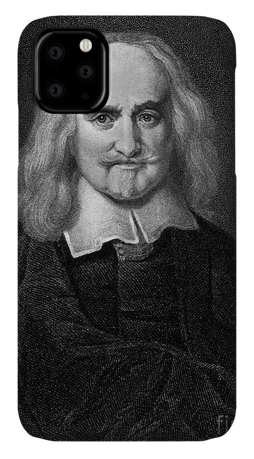 Historical IPhone Case featuring the drawing Thomas Hobbes English Philosopher, Engraving by European School
