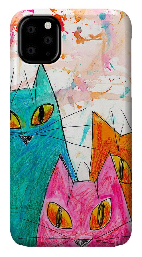 Cat IPhone Case featuring the painting Three Cats by Genevieve Esson