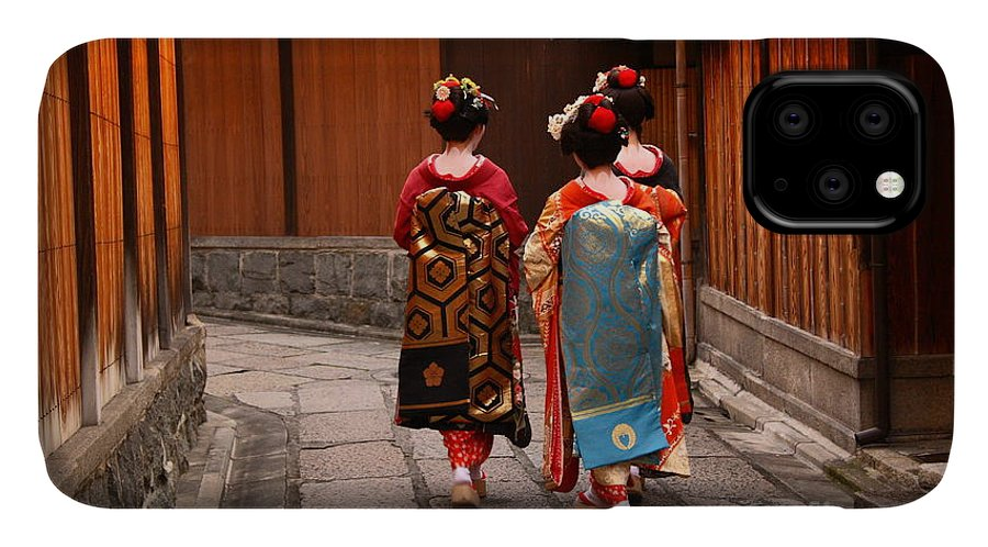 Delicate IPhone Case featuring the photograph Three Geishas Walking On A Street Of by Sergii Rudiuk