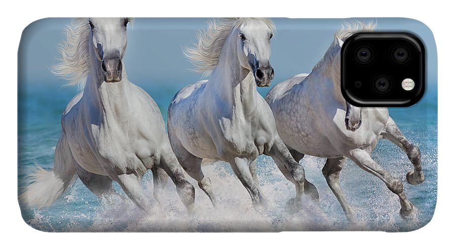 Orlov IPhone Case featuring the photograph Three White Horse Run Gallop In Waves by Callipso