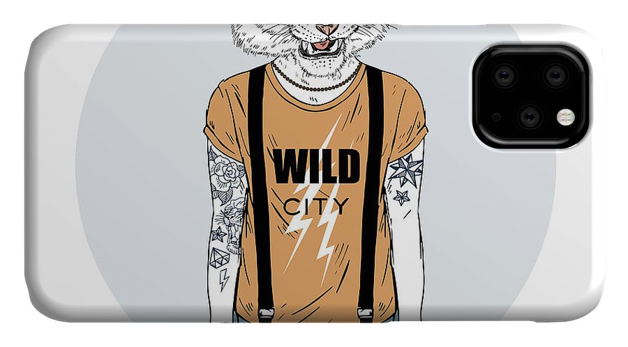Big IPhone Case featuring the digital art Tiger Man Hipster Dressed Up In Cool by Olga angelloz