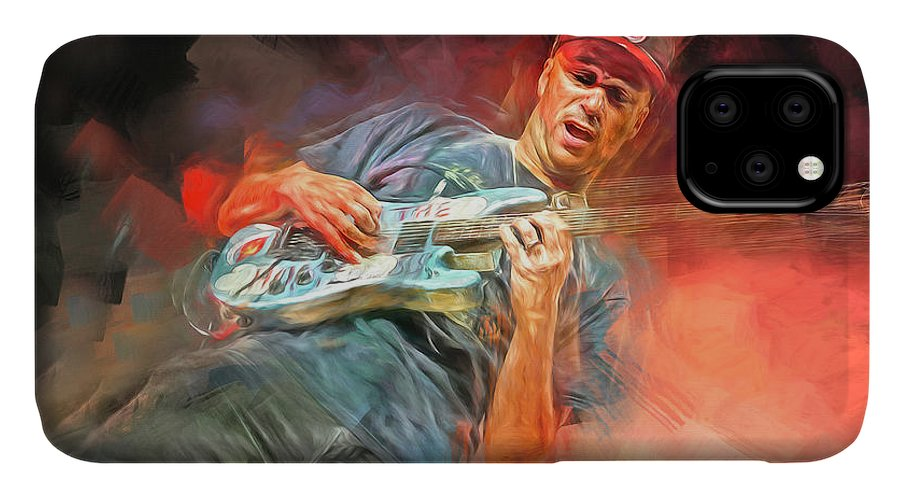 Tom Morello IPhone Case featuring the mixed media Tom Morello Guitarist by Mal Bray