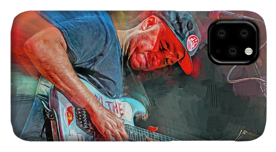 Tom Morello IPhone Case featuring the mixed media Tom Morello Musician by Mal Bray