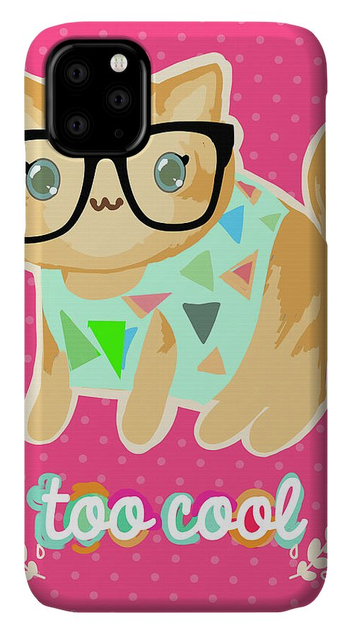Too Cool Cat IPhone Case featuring the mixed media Too Cool Cat by Natasha Wescoat