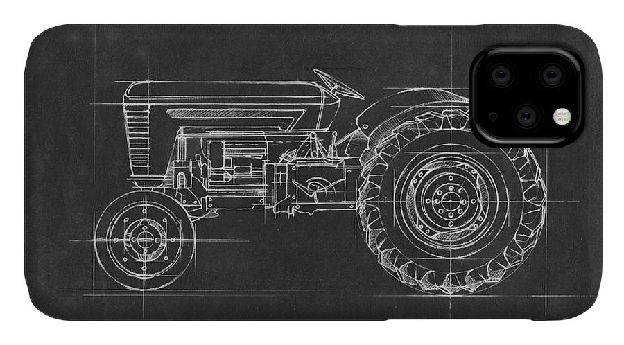 Transportation IPhone Case featuring the painting Tractor Blueprint I by Ethan Harper