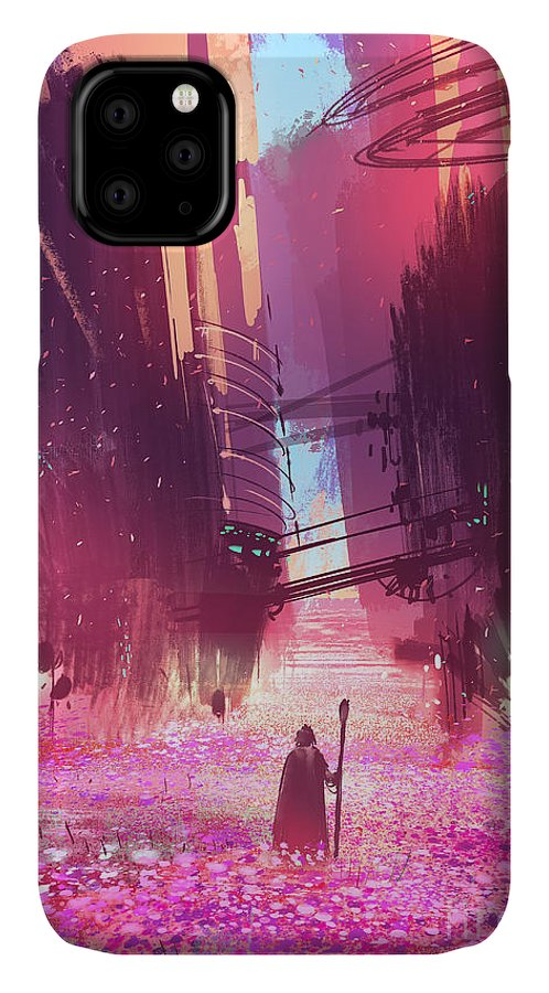 Fi IPhone 11 Case featuring the digital art Traveler Standing In Pink Flowers by Tithi Luadthong