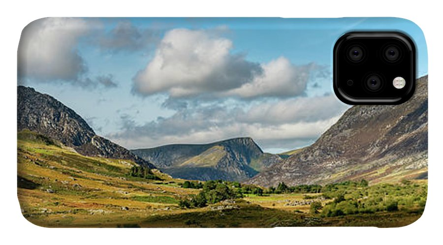Tryfan Mountain IPhone Case featuring the photograph Tryfan And Ogwen Valley Autumn Panorama by Adrian Evans