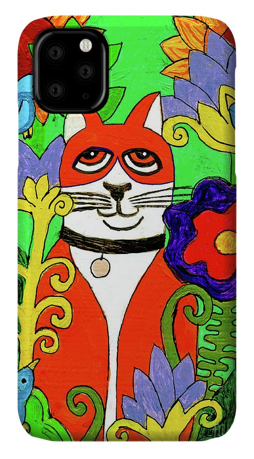 Cat IPhone Case featuring the painting Tuxedo Cat With Four Bluebirds In Garden by Genevieve Esson
