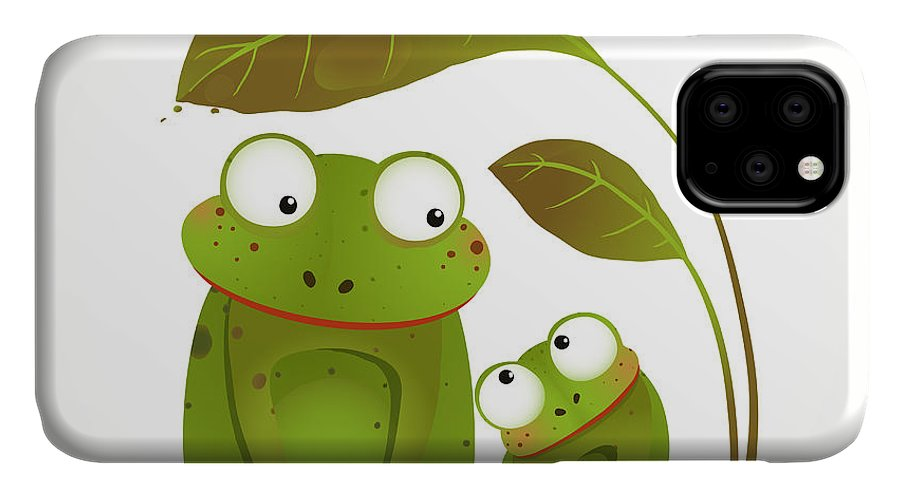 Love IPhone Case featuring the digital art Two Frogs Mother And Baby Childish by Popmarleo
