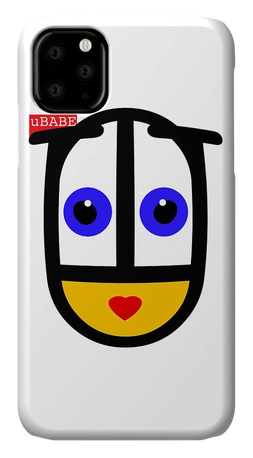 Ubabe Face IPhone Case featuring the digital art uBABE Logo by Ubabe Style