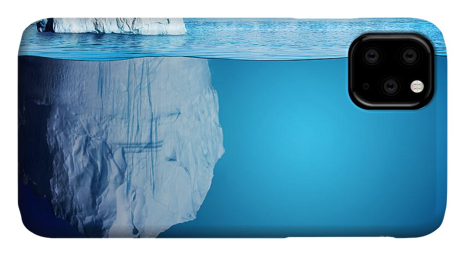 Symbol IPhone Case featuring the digital art Underwater View Of Iceberg With by Niyazz