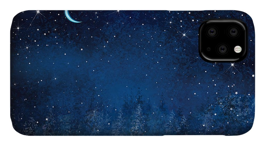 Magic IPhone Case featuring the digital art Vector Winter Wonderland Night by Rvika
