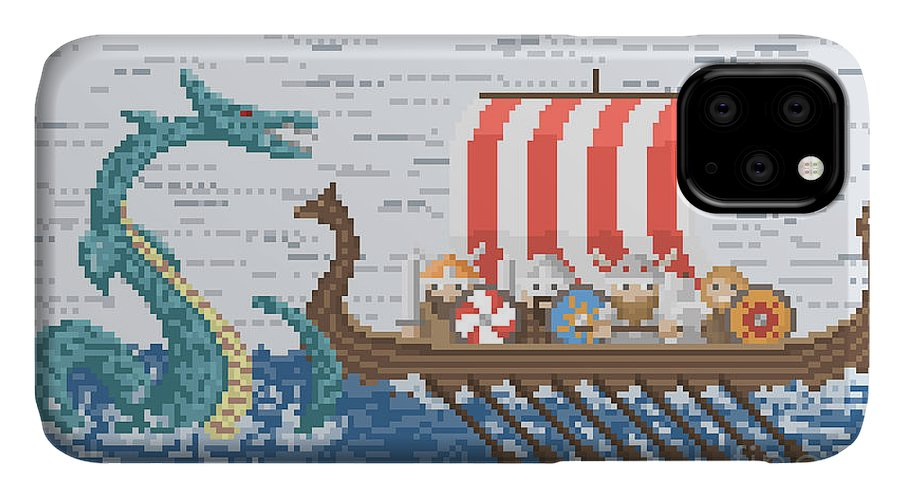 Battleship IPhone Case featuring the digital art Vikings Battle With The Sea Dragon by Wild Wind