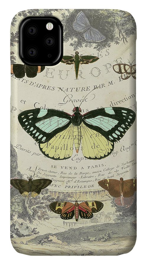 Animals & Nature+butterflies & Bees IPhone Case featuring the painting Vintage Butterfly Bookplate by Vision Studio
