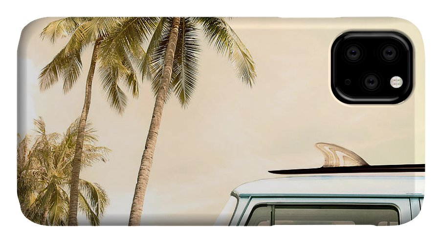 Sunshine IPhone 11 Case featuring the photograph Vintage Car Parked On The Tropical by Jakkapan