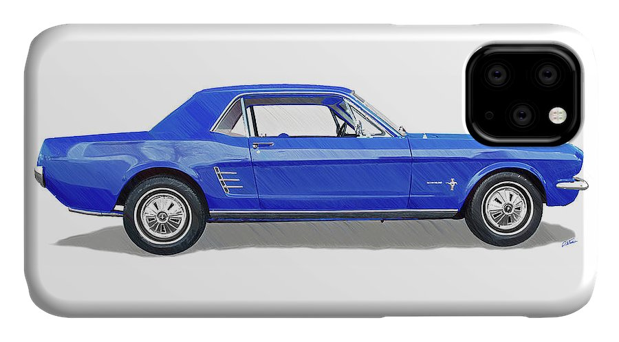 Automobile IPhone Case featuring the drawing Vintage Ford Mustang - Dwp3864868 by Dean Wittle