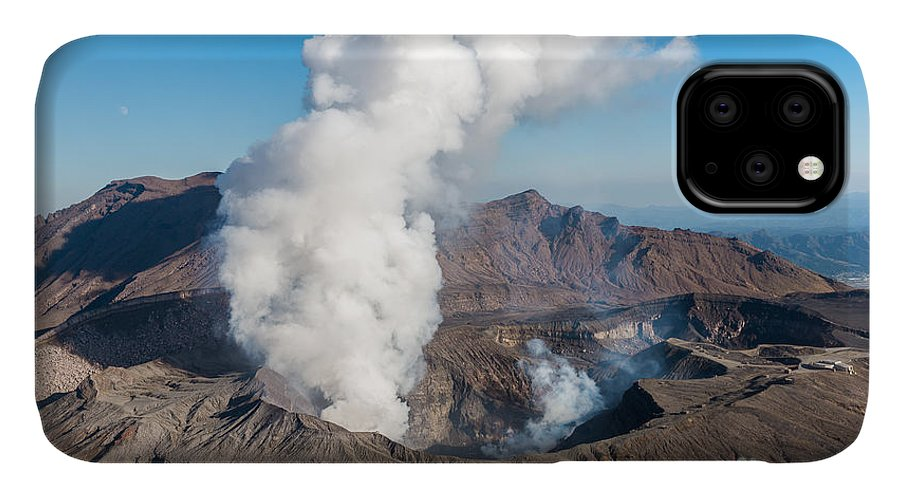 Japan IPhone 11 Case featuring the photograph Volcano, Kyushu, Mount Aso, Beautiful by Gnoparus