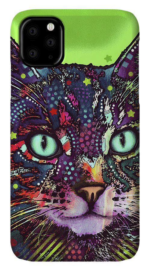 Watchful Cat IPhone Case featuring the mixed media Watchful Cat by Dean Russo