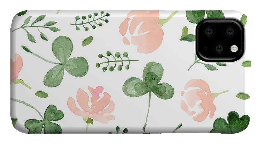 Symbol IPhone Case featuring the digital art Watercolor Clover And Little Flowers by Antalogiya