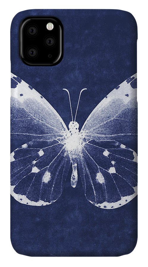 Butterfly IPhone Case featuring the mixed media White and Indigo Butterfly 1- Art by Linda Woods by Linda Woods