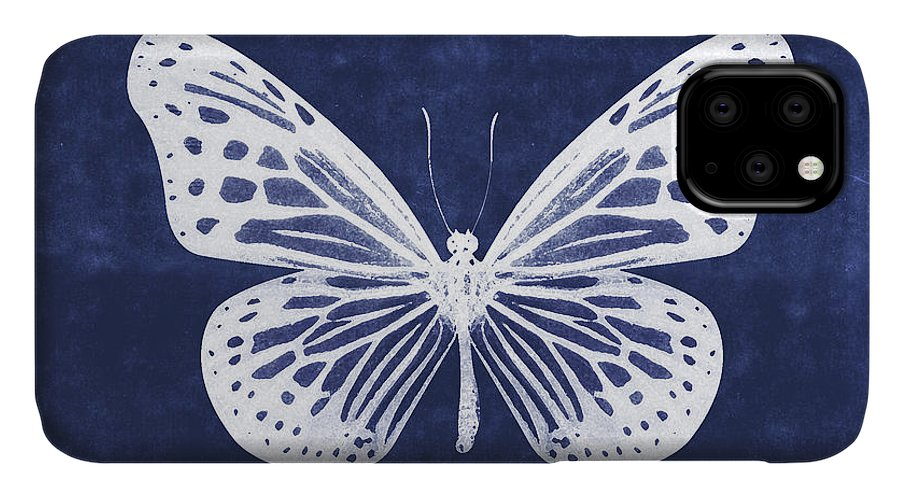 Butterfly IPhone Case featuring the mixed media White and Indigo Butterfly- Art by Linda Woods by Linda Woods