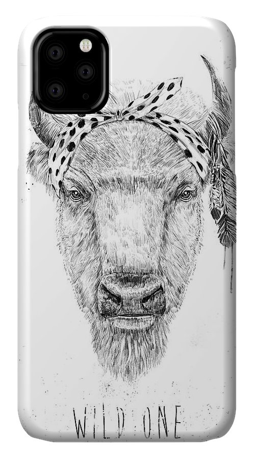 Bull IPhone Case featuring the mixed media Wild One by Balazs Solti