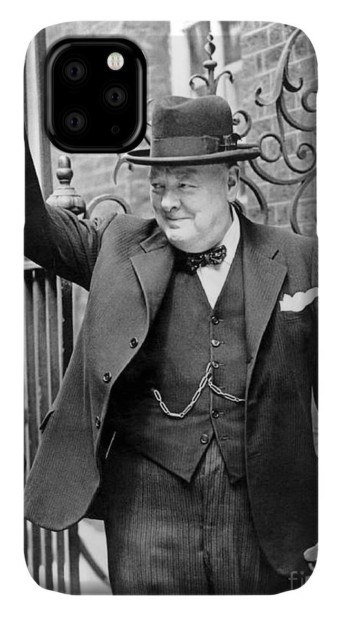 Churchill IPhone Case featuring the photograph Winston Churchill Showing The V Sign by English School