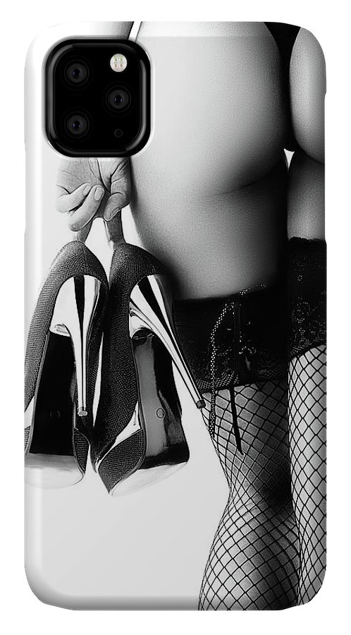 Woman IPhone Case featuring the photograph Woman in lingerie rear view by Johan Swanepoel