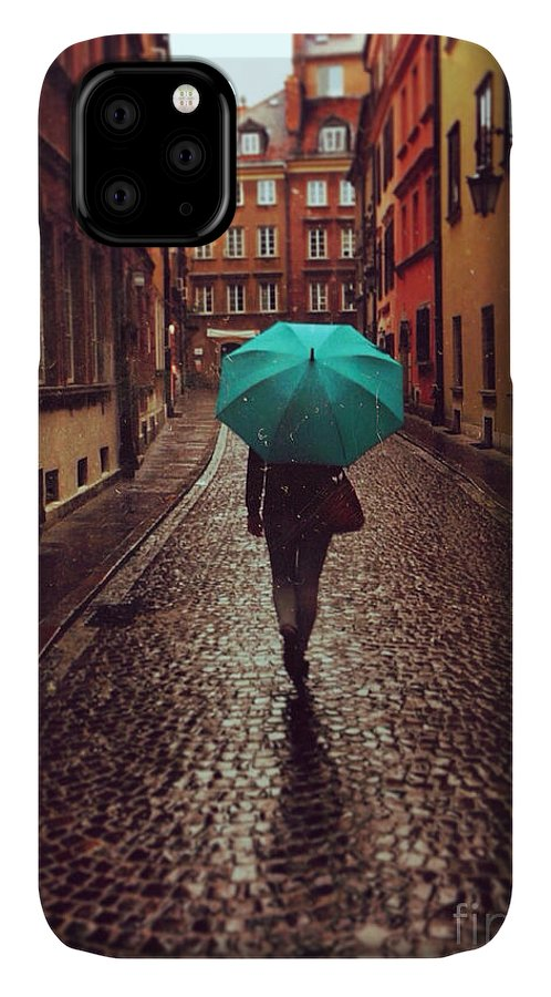 Couple IPhone Case featuring the photograph Woman With Umbrella Walking On The Rain by Happy Moments