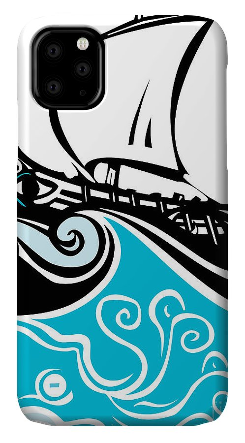 Argonaut IPhone 11 Case featuring the digital art Woodcut Style Ancient Greek Galley With by Jef Thompson