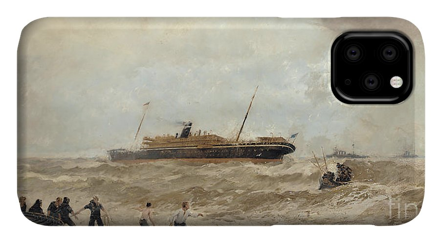 Sea IPhone Case featuring the painting Wreck Of The Delhi Off Cape Spartel, 13th January 1911, Landing Of The Princess Royal, 1912 by Algernon Yockney