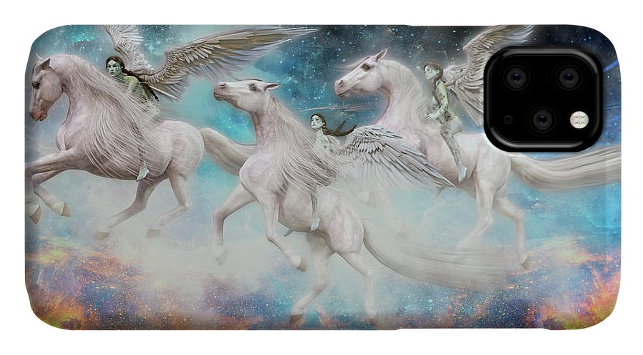 Angel IPhone 11 Case featuring the digital art Wrinkles In Time by Betsy Knapp