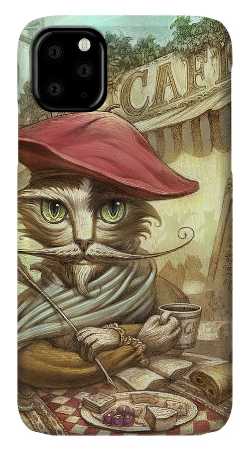 Paris Cat IPhone Case featuring the painting Writing my Memoirs by Jeff Haynie
