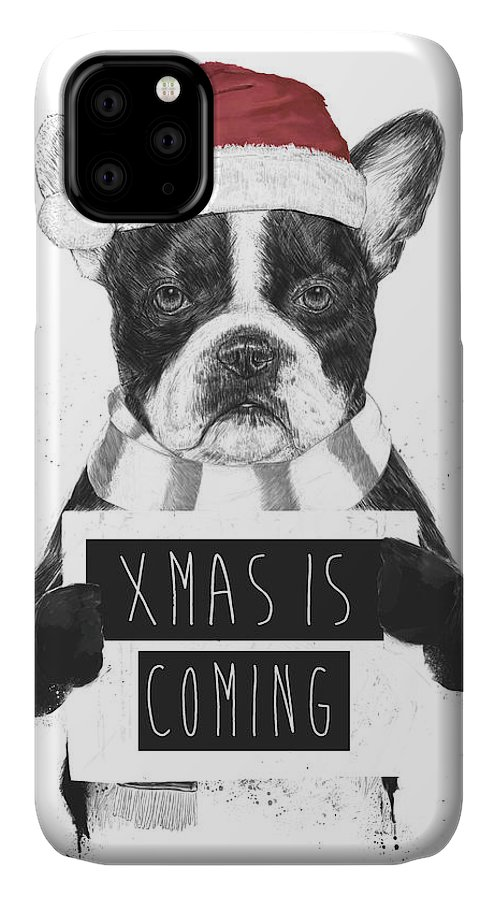 Bulldog IPhone Case featuring the mixed media Xmas Is Coming by Balazs Solti