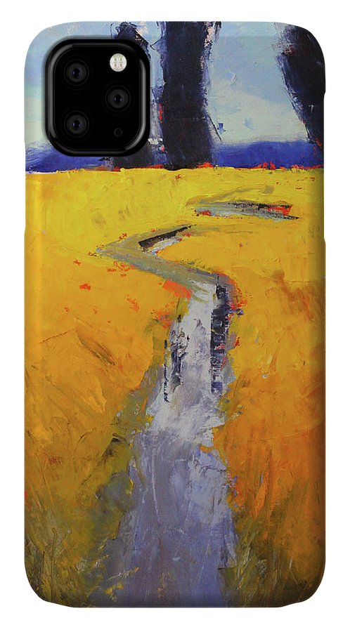 Rural Landscape IPhone Case featuring the painting Yellow Field by Nancy Merkle
