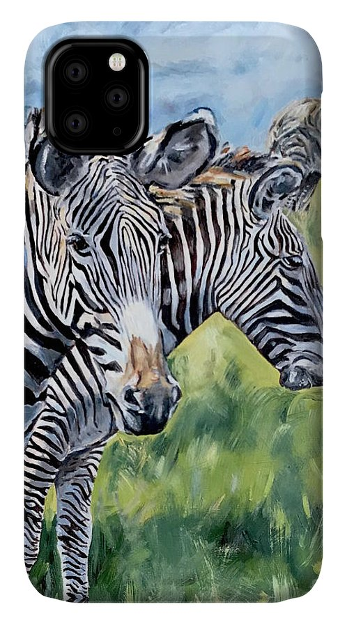 Zebra IPhone 11 Case featuring the painting Zebras by Maria Reichert