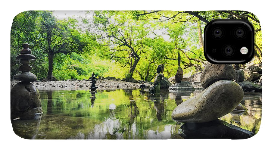 Harmony IPhone 11 Case featuring the photograph Zen Pond In Forest. Photography Of by Banana Republic Images