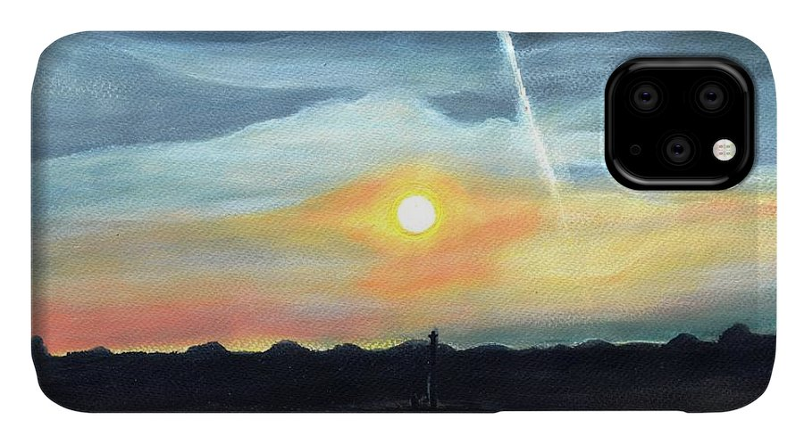 Sunset IPhone Case featuring the painting Serene Sunset Landscape Painting In Bath Uk by Manjiri Kanvinde