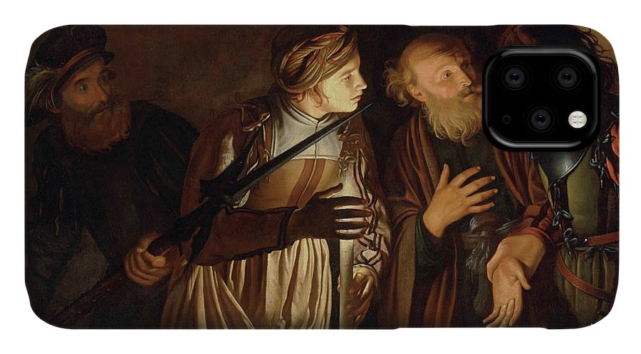 Coster IPhone Case featuring the painting The Denial of Saint Peter by Adam de Coster