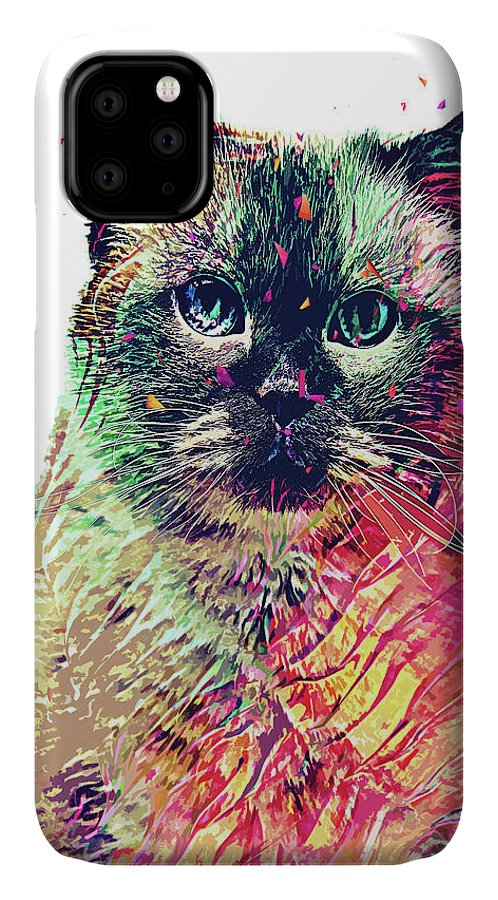 Cat IPhone Case featuring the digital art Abstract Birman by Trindira A